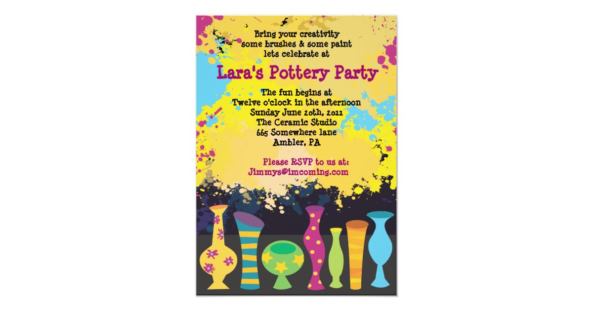 PAINT YOUR OWN POTTERY Birthday Party Invitation   Zazzle.co.uk