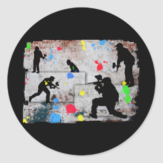 Paintball Battle Classic Round Sticker