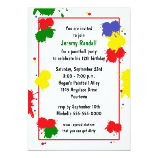 Paintball Birthday Invitation