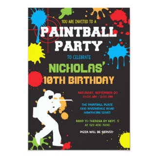 Paintball Birthday Invitation / Paintball Birthday