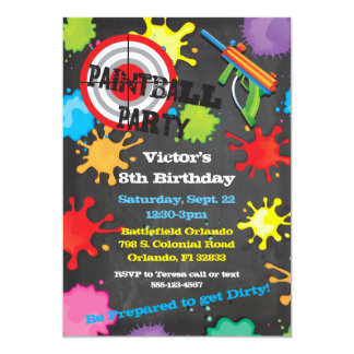 Paintball Birthday Party chalkboard background 13 Cm X 18 Cm Invitation Card