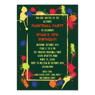 Paintball Birthday Party Invitation