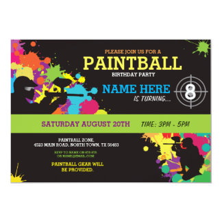 Paintball Birthday Party Invitation Fun Paint Ball