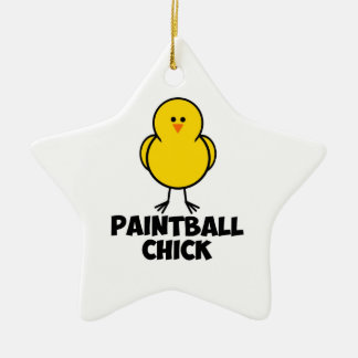 Paintball Chick Double-Sided Star Ceramic Christmas Ornament