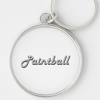 Paintball Classic Retro Design Silver-Colored Round Key Ring