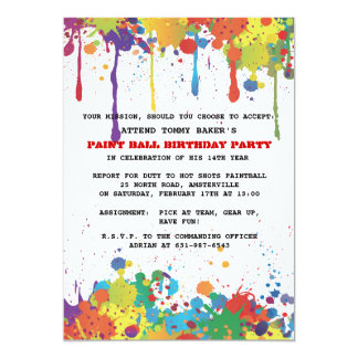 Paintball Colors Invitation