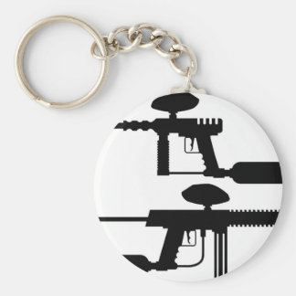 Paintball Gun Basic Round Button Key Ring