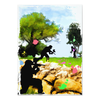 Paintball in the Spring 13 Cm X 18 Cm Invitation Card