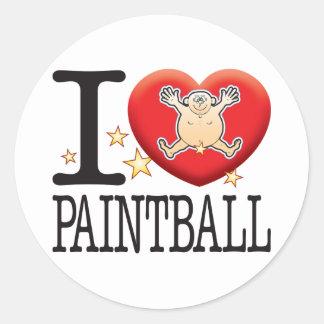 Paintball Love Man Classic Round Sticker