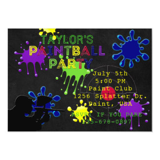 Paintball Party Chalkboard Black Splat Invitation