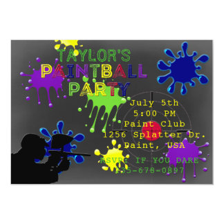 Paintball Party Chalkboard Grey Splat Invitation