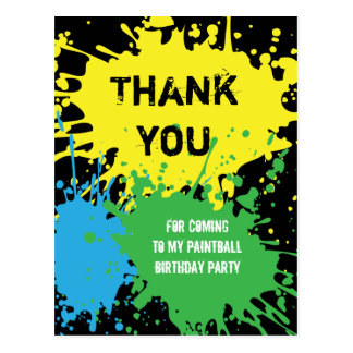 Paintball Party Thank You Postcard