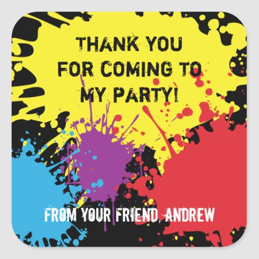Paintball Party Thank You Sticker