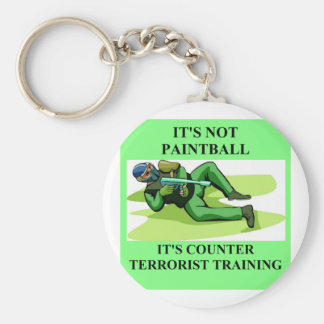 paintball player basic round button key ring