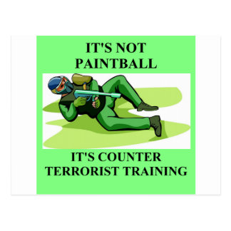 paintball player post card