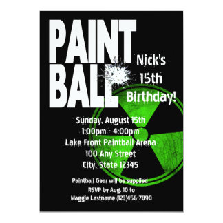 Paintball Radio Active Birthday 13 Cm X 18 Cm Invitation Card