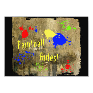 Paintball Rules on a Grunge Wall 13 Cm X 18 Cm Invitation Card