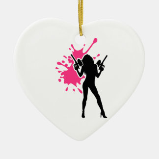 Paintball splash woman girl ceramic heart decoration