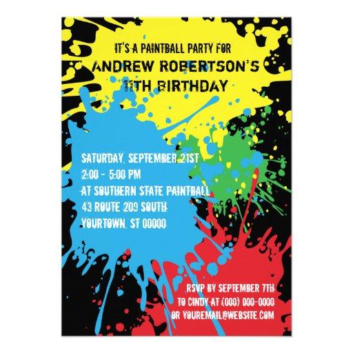 Paintball Splat Party Invitation