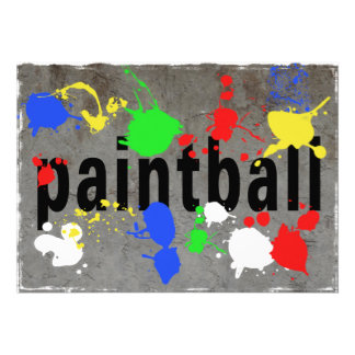 Paintball Splatter on Concrete Wall Personalized Announcements