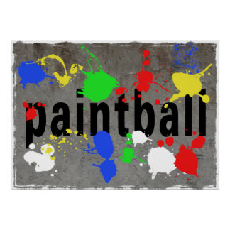 Paintball Splatter on Concrete Wall Poster