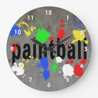 Paintball text on Grey with Splatters Wallclock