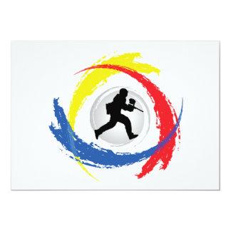 Paintball Tricolor Emblem 13 Cm X 18 Cm Invitation Card