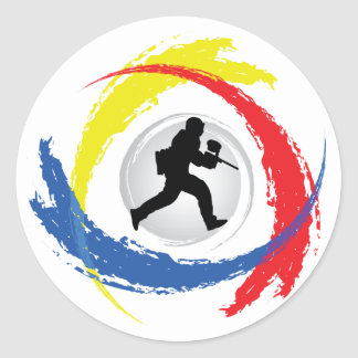 Paintball Tricolor Emblem Classic Round Sticker