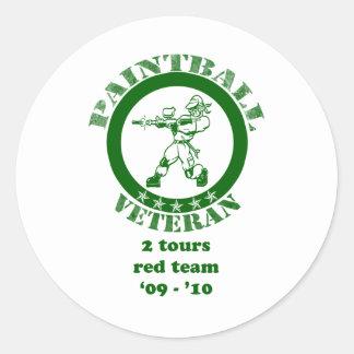 Paintball Veteran Classic Round Sticker