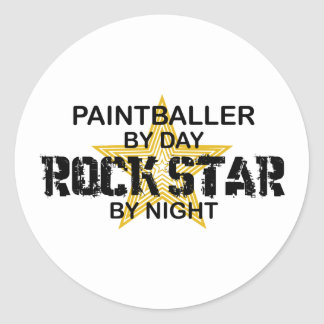 Paintballer Rock Star by Night Classic Round Sticker
