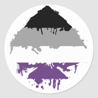 Paintdrip Asexual Ace Round Sticker