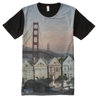 Painte Ladies And Golden Gate Bridge All-Over Print T-Shirt
