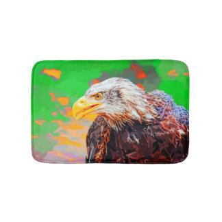 Painted American Bald Eagle Neon Portrait Bath Mats
