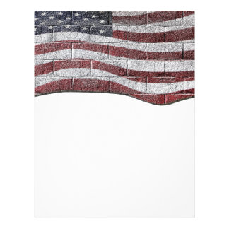 Painted American Flag on Brick Wall Texture 21.5 Cm X 28 Cm Flyer
