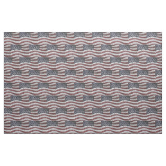 Painted American Flag on Brick Wall Texture Fabric