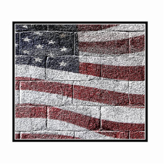 Painted American Flag on Brick Wall Texture Photo Cut Out