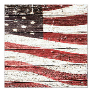 Painted American Flag on Rustic Wood Texture 13 Cm X 13 Cm Square Invitation Card