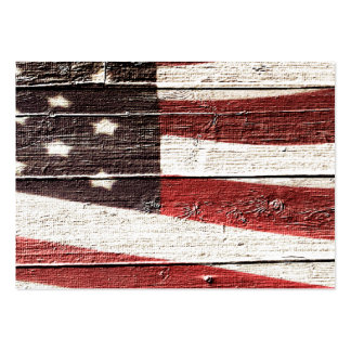Painted American Flag on Rustic Wood Texture Business Card Templates