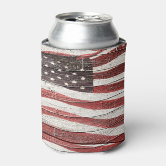 Painted American Flag on Rustic Wood Texture Can Cooler