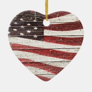 Painted American Flag on Rustic Wood Texture Christmas Ornament