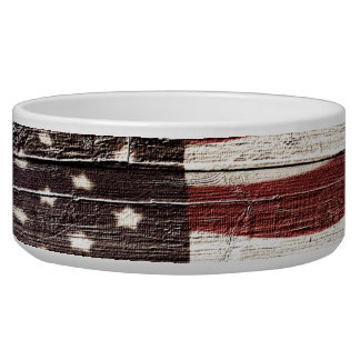 Painted American Flag on Rustic Wood Texture Dog Food Bowls