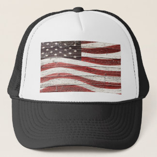 Painted American Flag on Rustic Wood Texture Trucker Hat