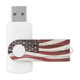 Painted American Flag on Rustic Wood Texture USB Flash Drive