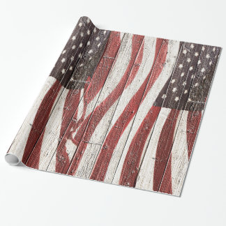 Painted American Flag on Rustic Wood Texture Wrapping Paper