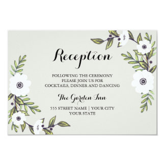 Painted Anemones - Reception card 9 Cm X 13 Cm Invitation Card