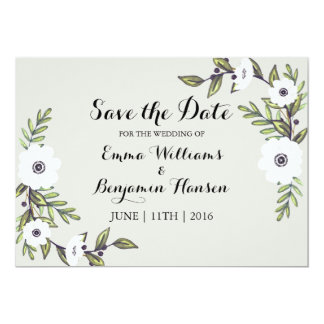 Painted Anemones - Save the Date 13 Cm X 18 Cm Invitation Card