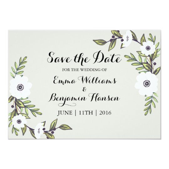 Painted Anemones - Save the Date Card