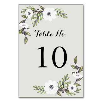 Painted Anemones - Table Number Table Card