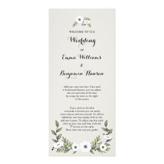 Painted Anemones Wedding Program Rack Card
