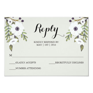 Painted Anemones - Wedding RSVP Card 9 Cm X 13 Cm Invitation Card